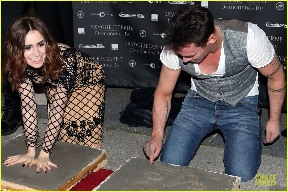 lily collins jonathan rhys meyers city of bones norway premiere 17