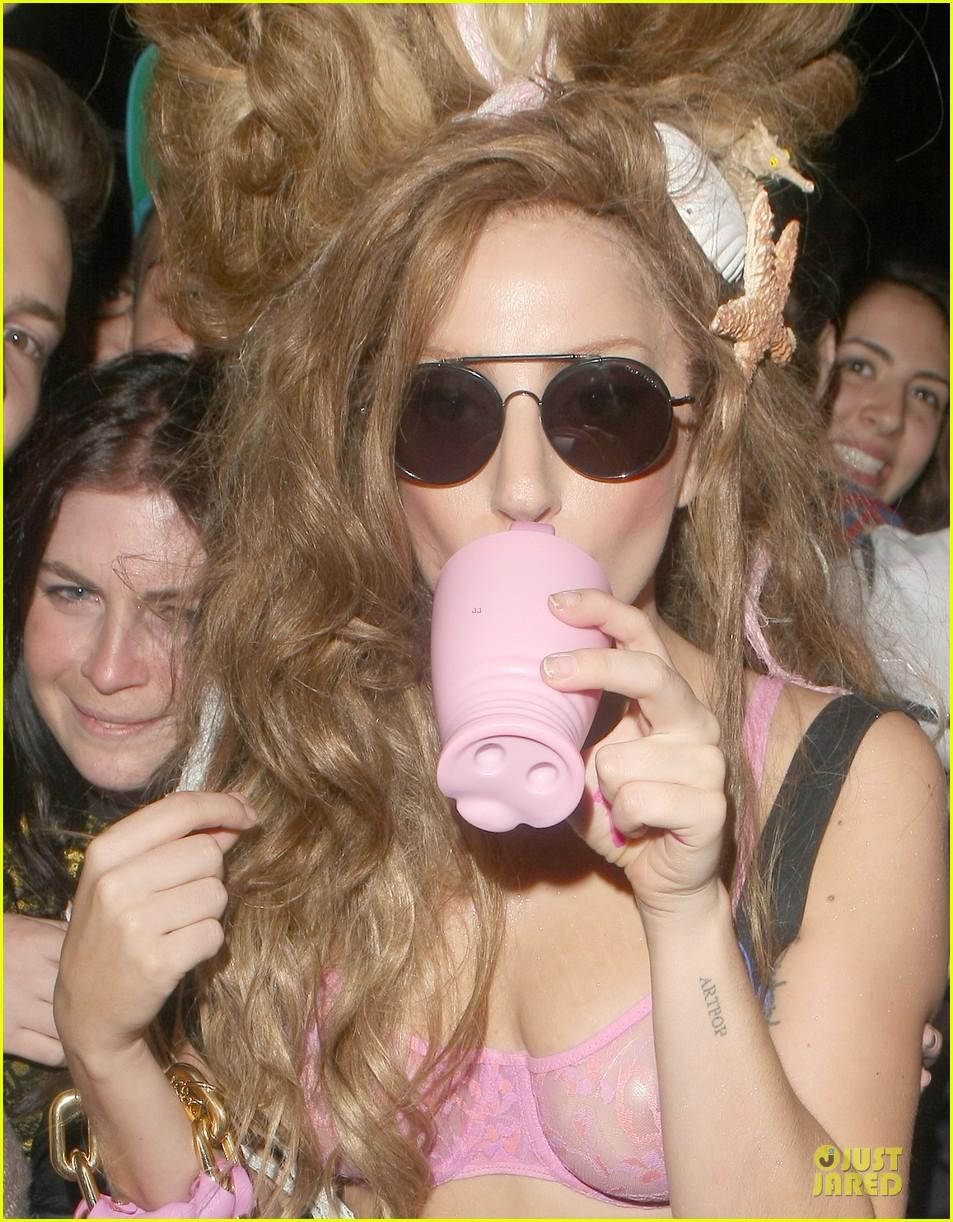 lady gaga rocks sheer pink bra for london hotel exit 12