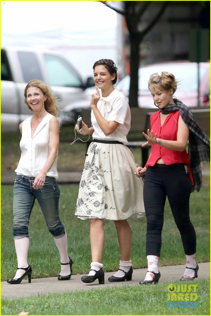 katie holmes dances along to songs on miss meadows set 232939817