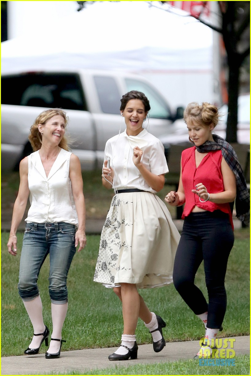 katie holmes dances along to songs on miss meadows set 272939821
