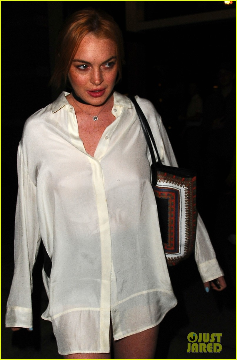 lindsay lohan wears button down as dress in nyc 03