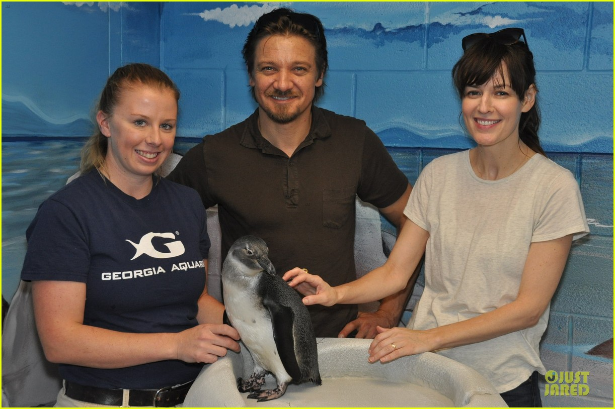 jeremy renner rosemarie dewitt georgia aquarium film break 01
