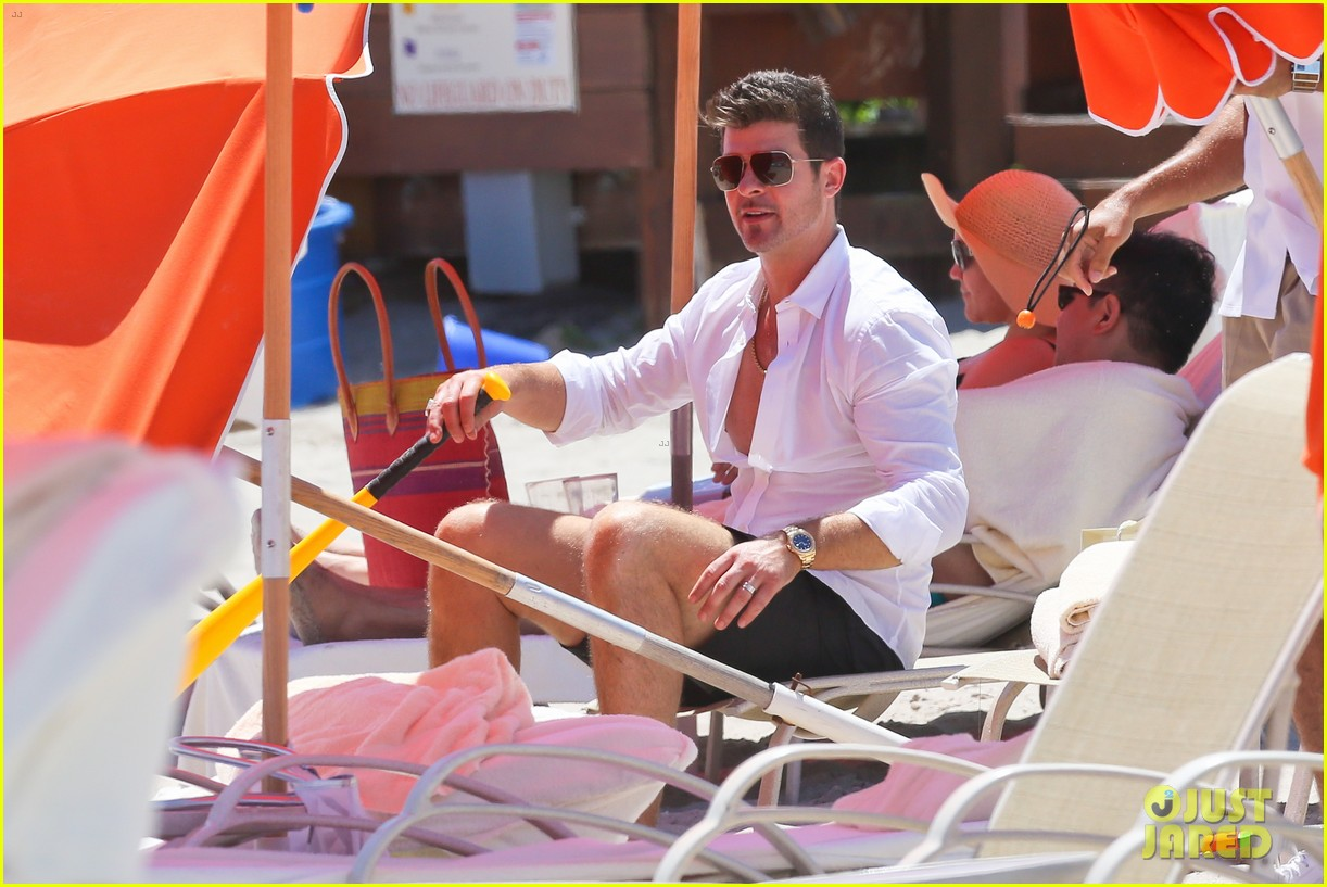 robin thicke paula patton beach day with julian 132940339