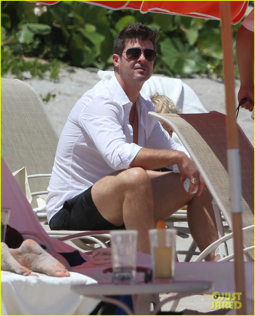 robin thicke paula patton beach day with julian 152940341