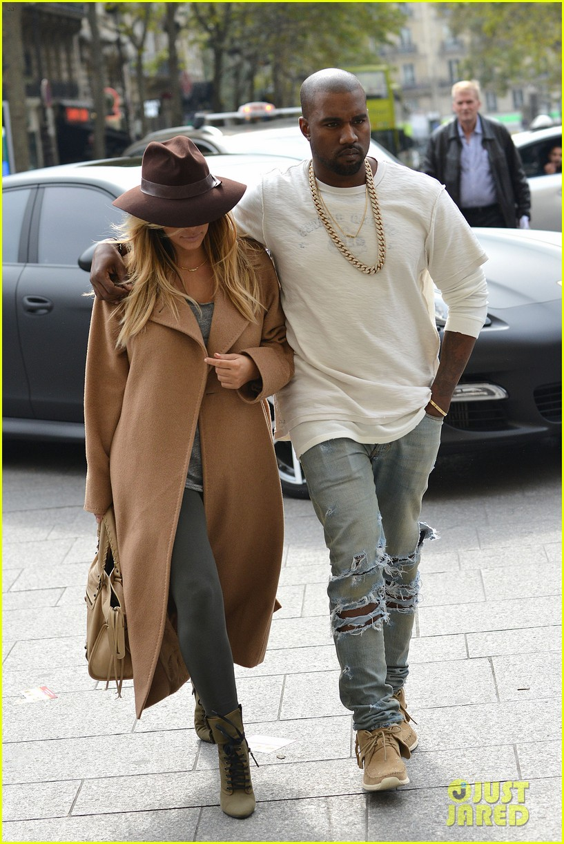 kim kardashian kanye west step out together in paris 13