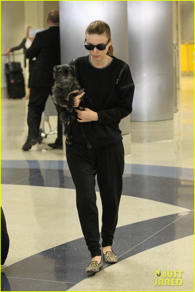 rooney mara holds pet pooch close at the airport 08