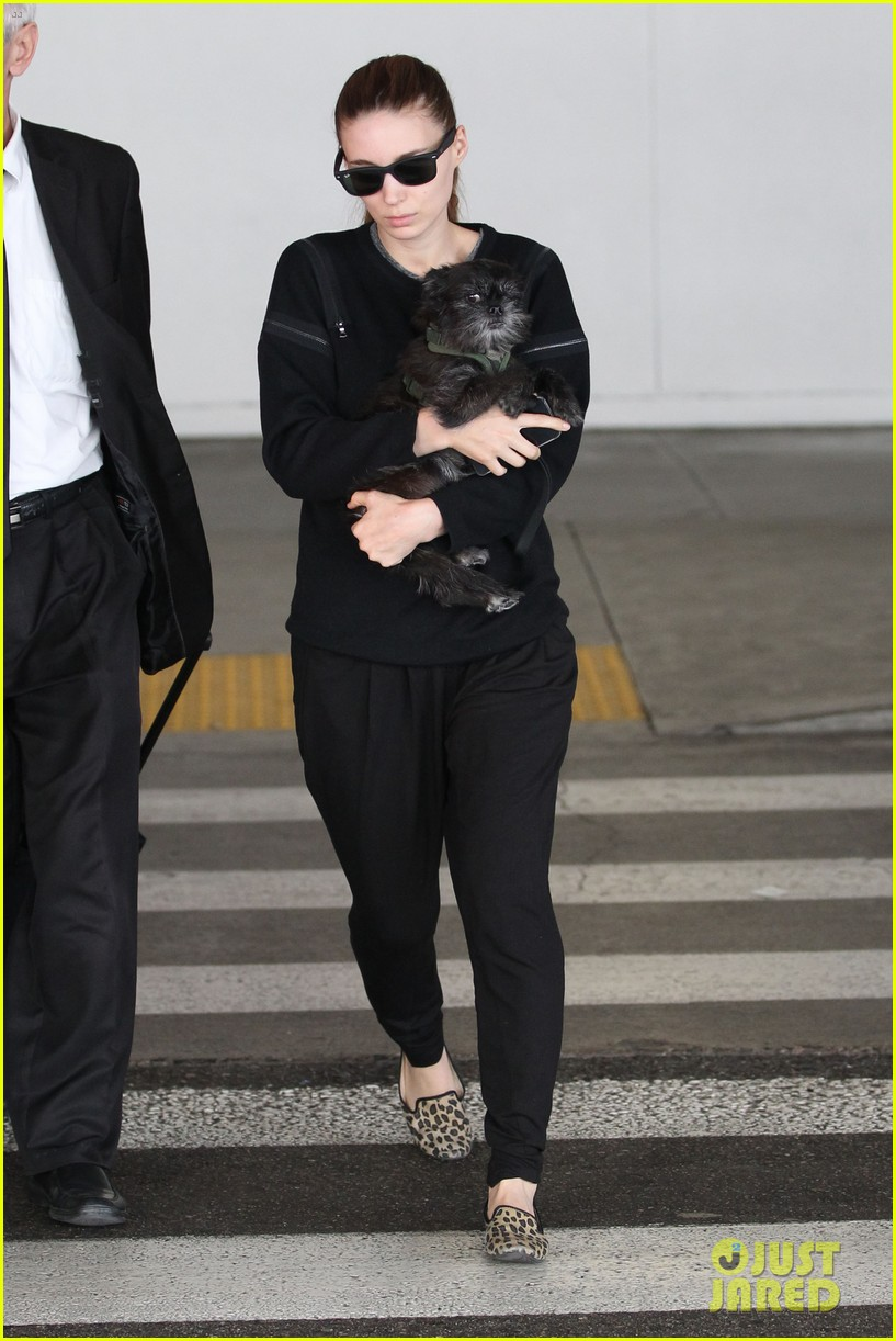 rooney mara holds pet pooch close at the airport 122960785