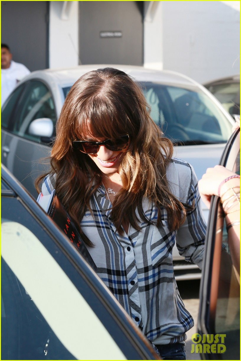 lea michele keeps cory monteith close at the hair salon 15
