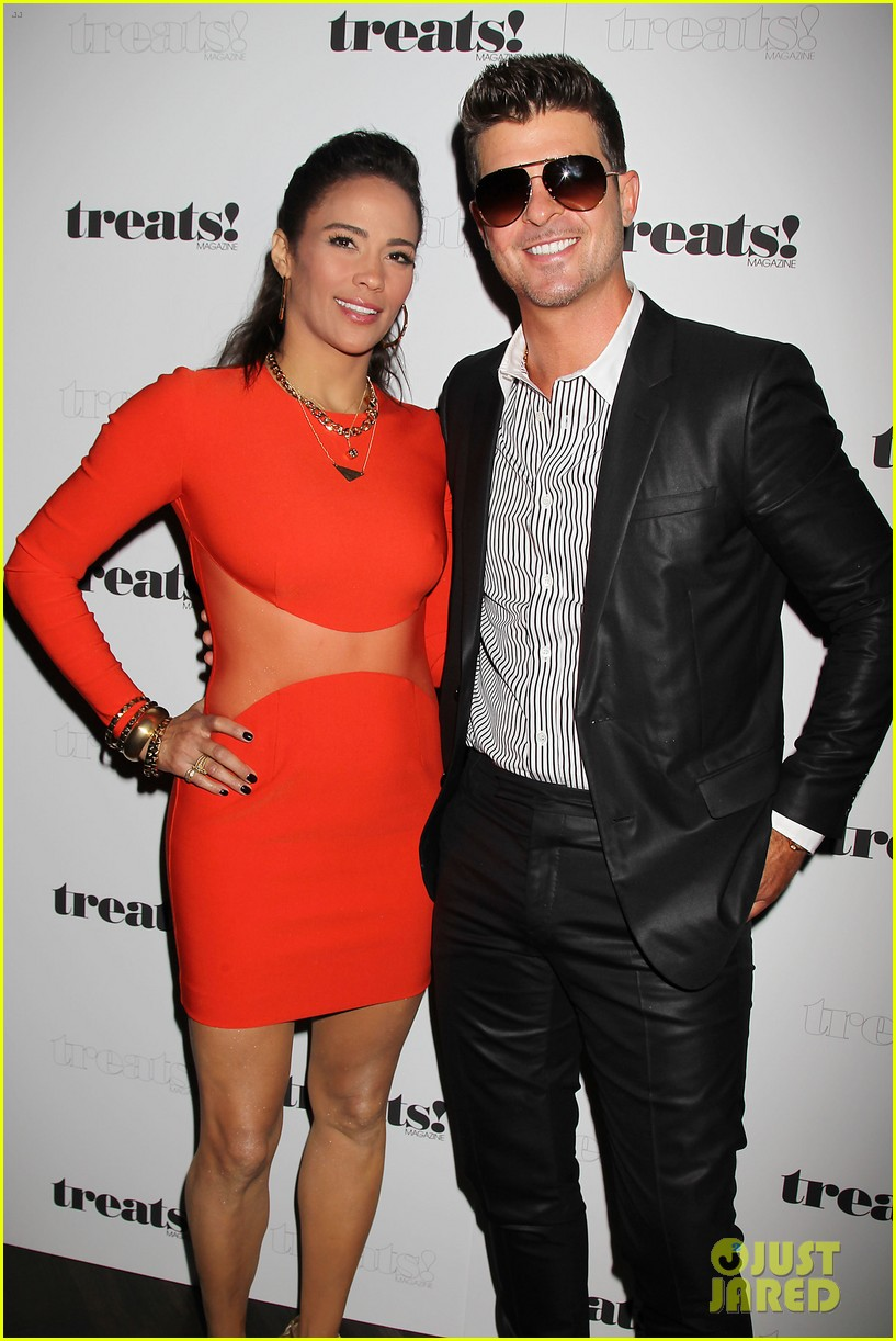 paula patton kisses robin thicke at his album release party 072944324