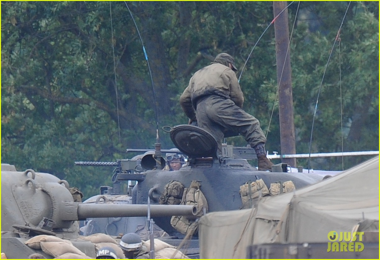 brad pitt rocks slicked back hair army outfit on fury set 182963208