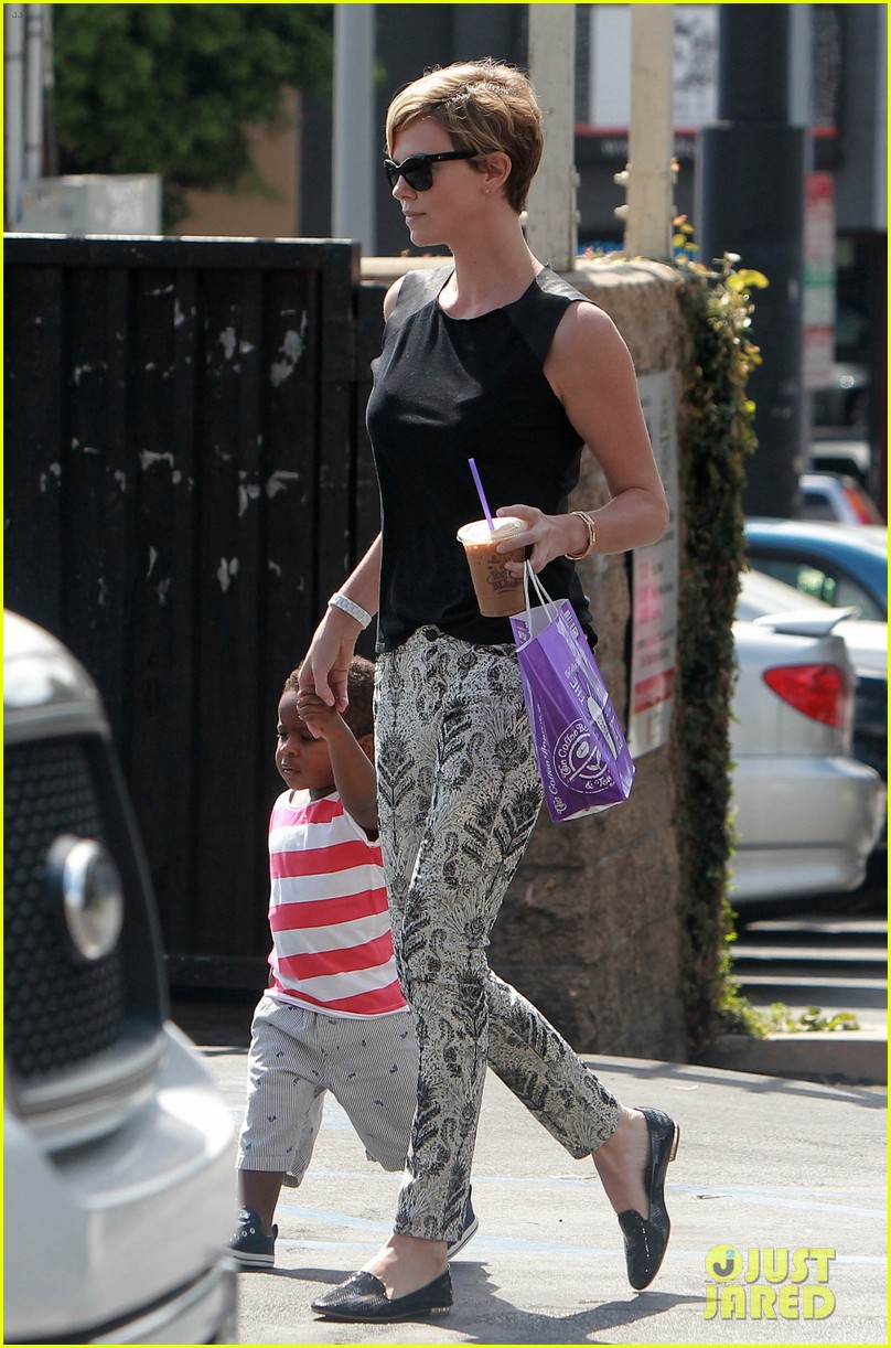 charlize theron grabs coffee with her little man jackson 14
