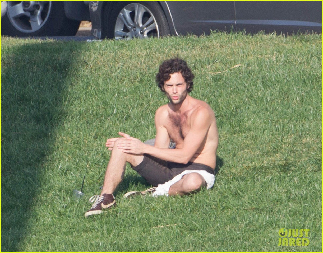 penn badgley goes shirtless in the park 04