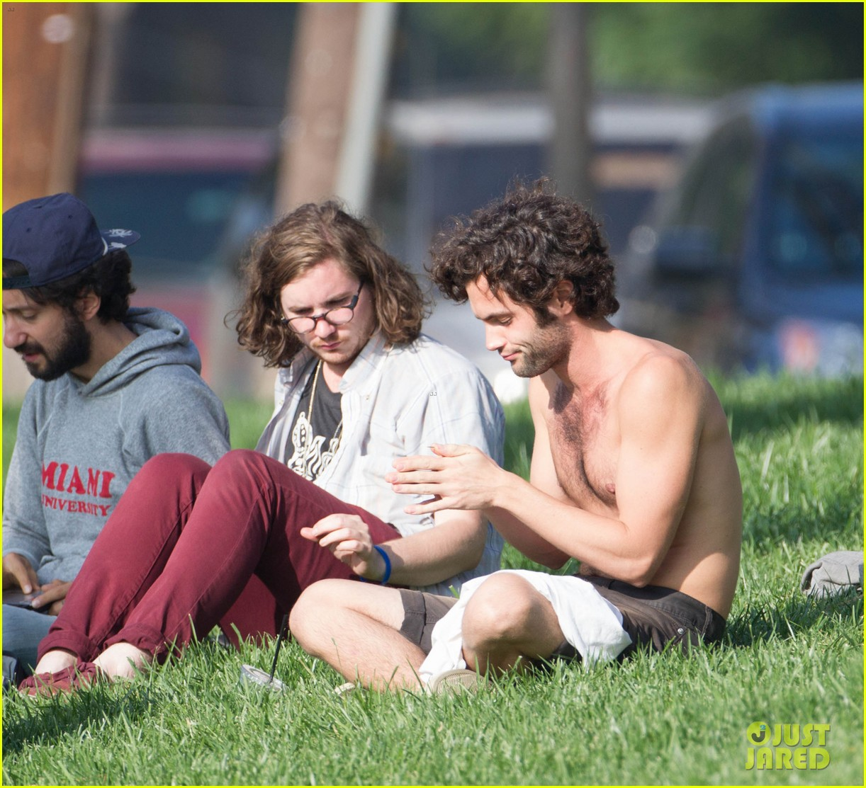 penn badgley goes shirtless in the park 072981732