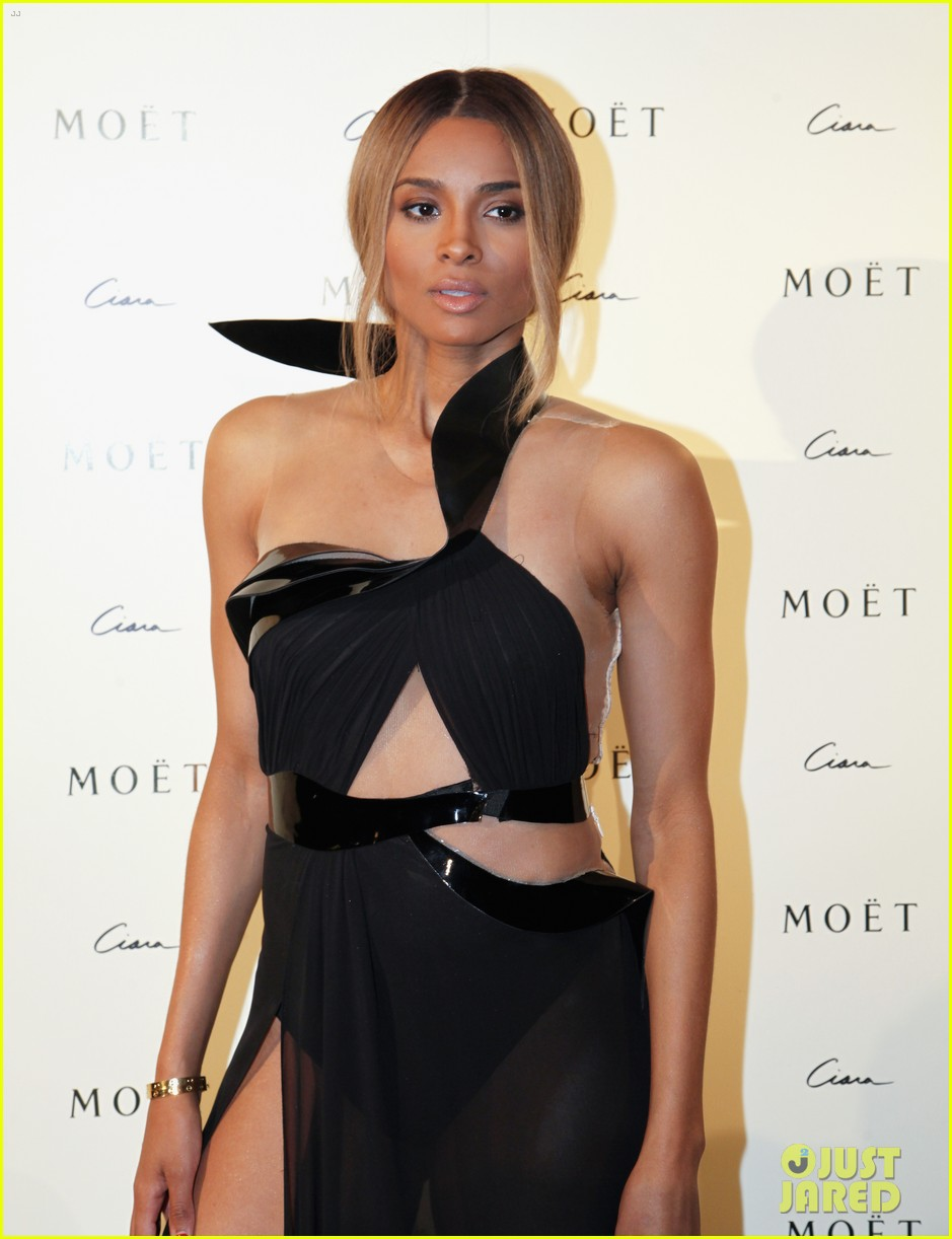 ciara shows off engagement ring at moet rose lounge 042982196
