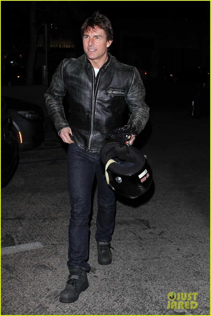 tom cruise rides motorcycle for lucas on sunset dinner outing 172973546