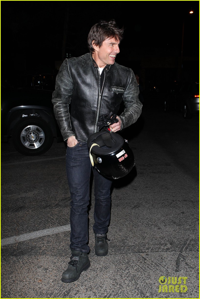 tom cruise rides motorcycle for lucas on sunset dinner outing 252973554