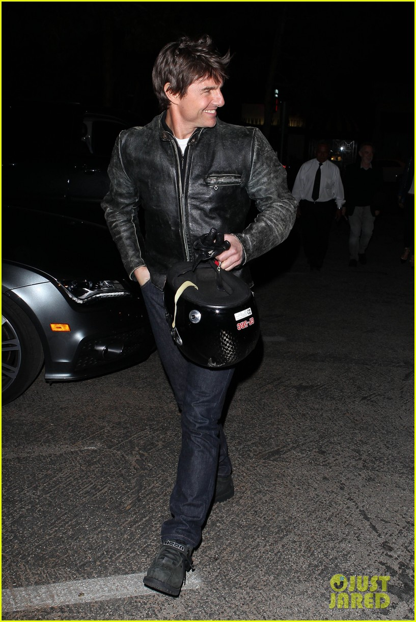 tom cruise rides motorcycle for lucas on sunset dinner outing 27