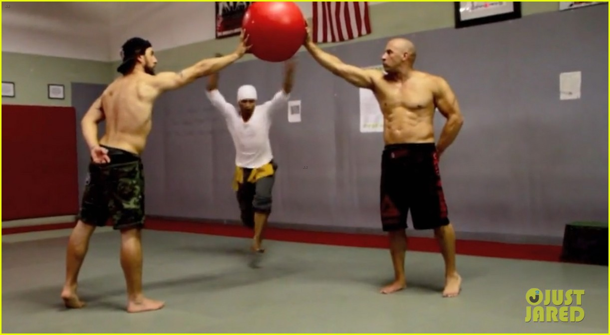 vin diesel flaunts ripped shirtless body for combat training 05