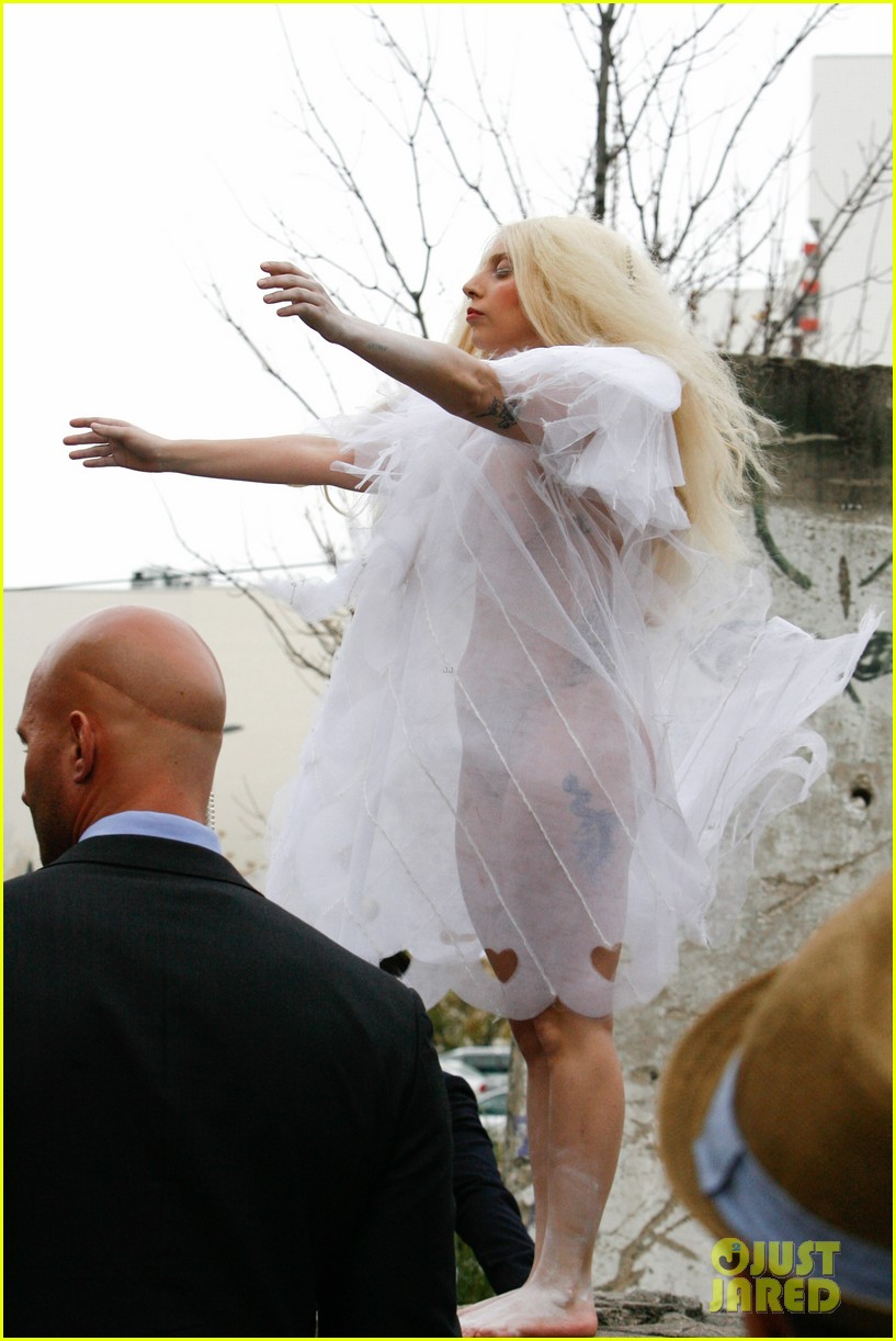lady gaga naked under sheer cover up at berlin wall 132979063