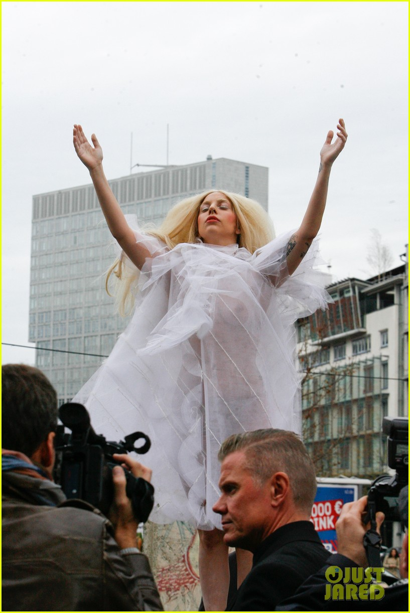 lady gaga naked under sheer cover up at berlin wall 192979069