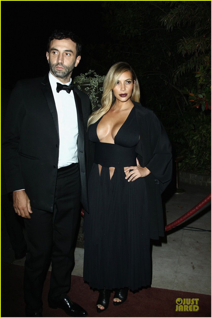 kim kardashian cleavage baring dress at mademoiselle c party 03