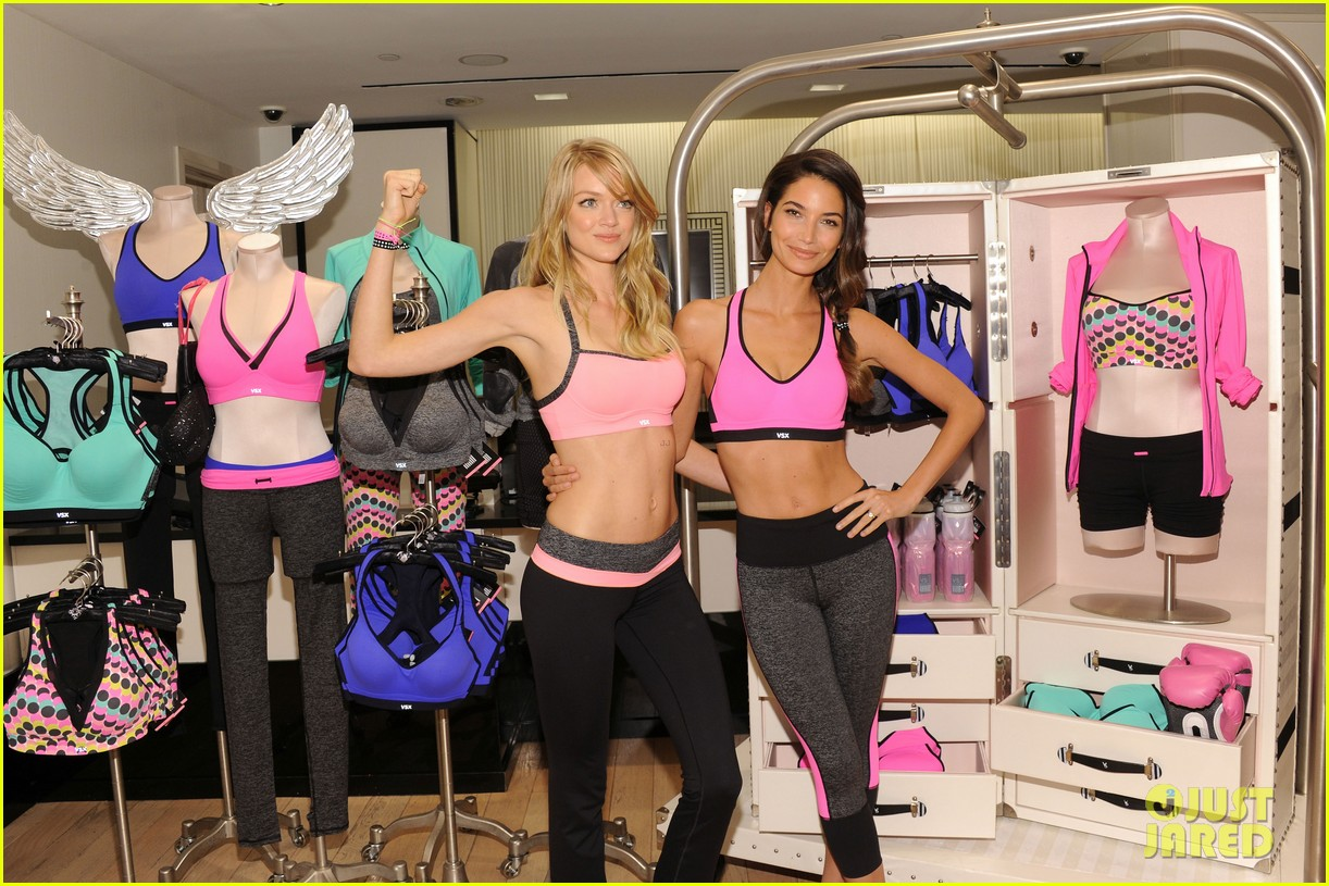 lily aldridge lindsay ellingson display abs at sports bra launch 06