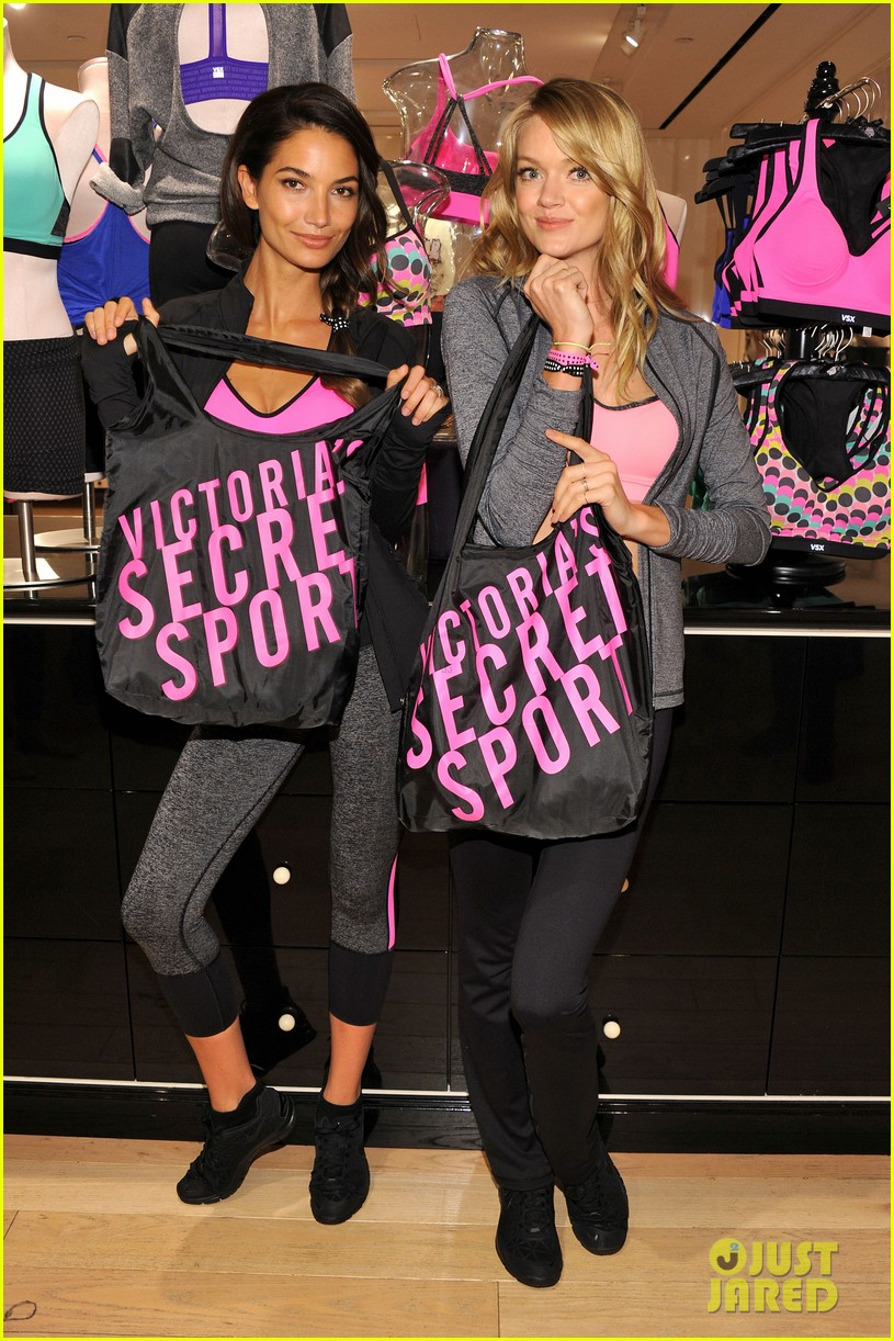 lily aldridge lindsay ellingson display abs at sports bra launch 13