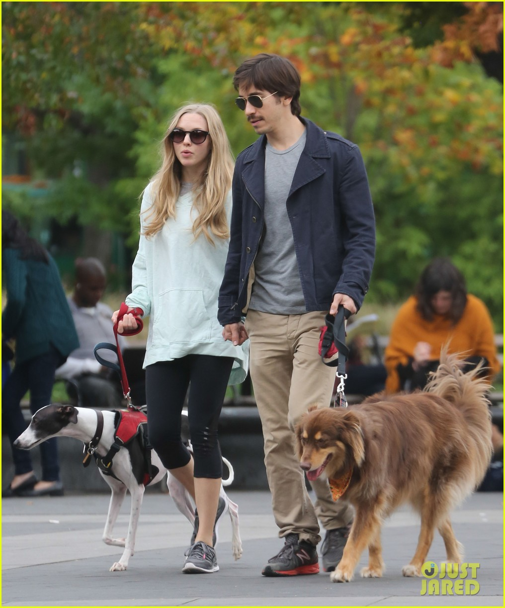 amanda seyfried justin long hold hands for dog walk 092973673