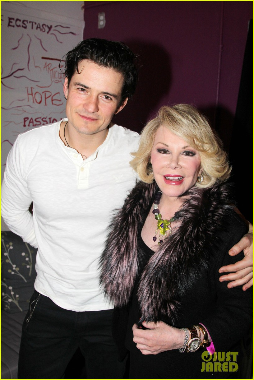 orlando bloom greets original juliet joan rivers backstage 01