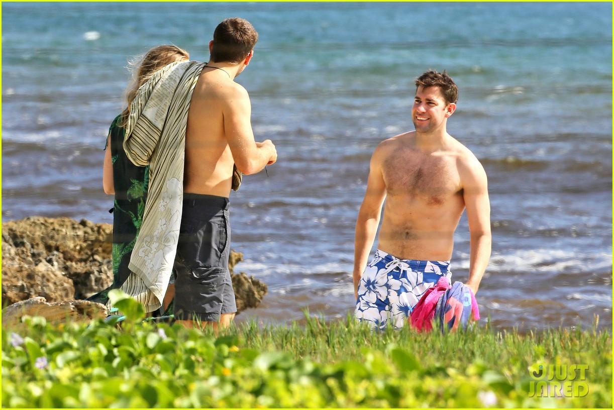 bradley cooper shirtless with john krasinski pregnant bikini clad emily blunt 322996572