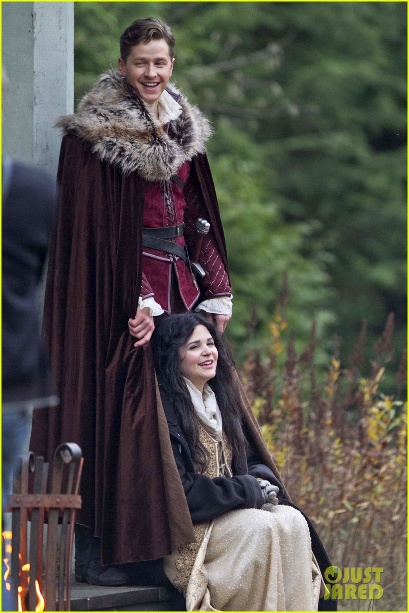 ginnifer goodwin cradles baby bump kisses josh dallas on set 013002071