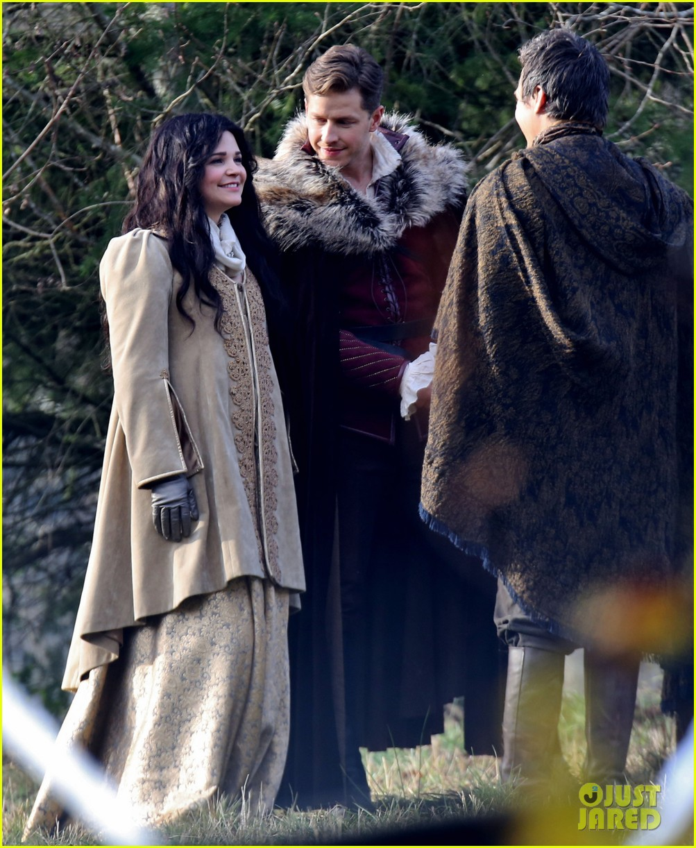 ginnifer goodwin cradles baby bump kisses josh dallas on set 133002083