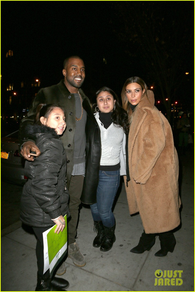 kim kardashian kanye west smile big for lucky fans 11