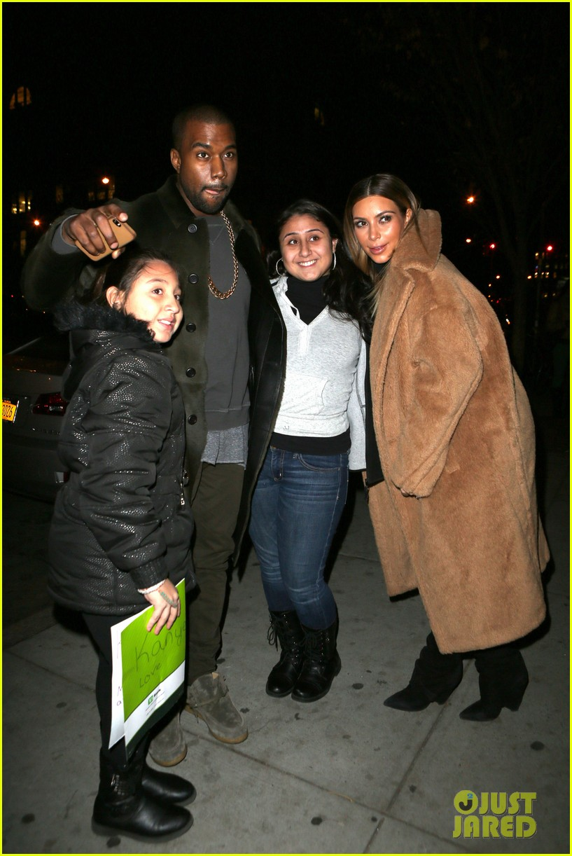 kim kardashian kanye west smile big for lucky fans 122999726