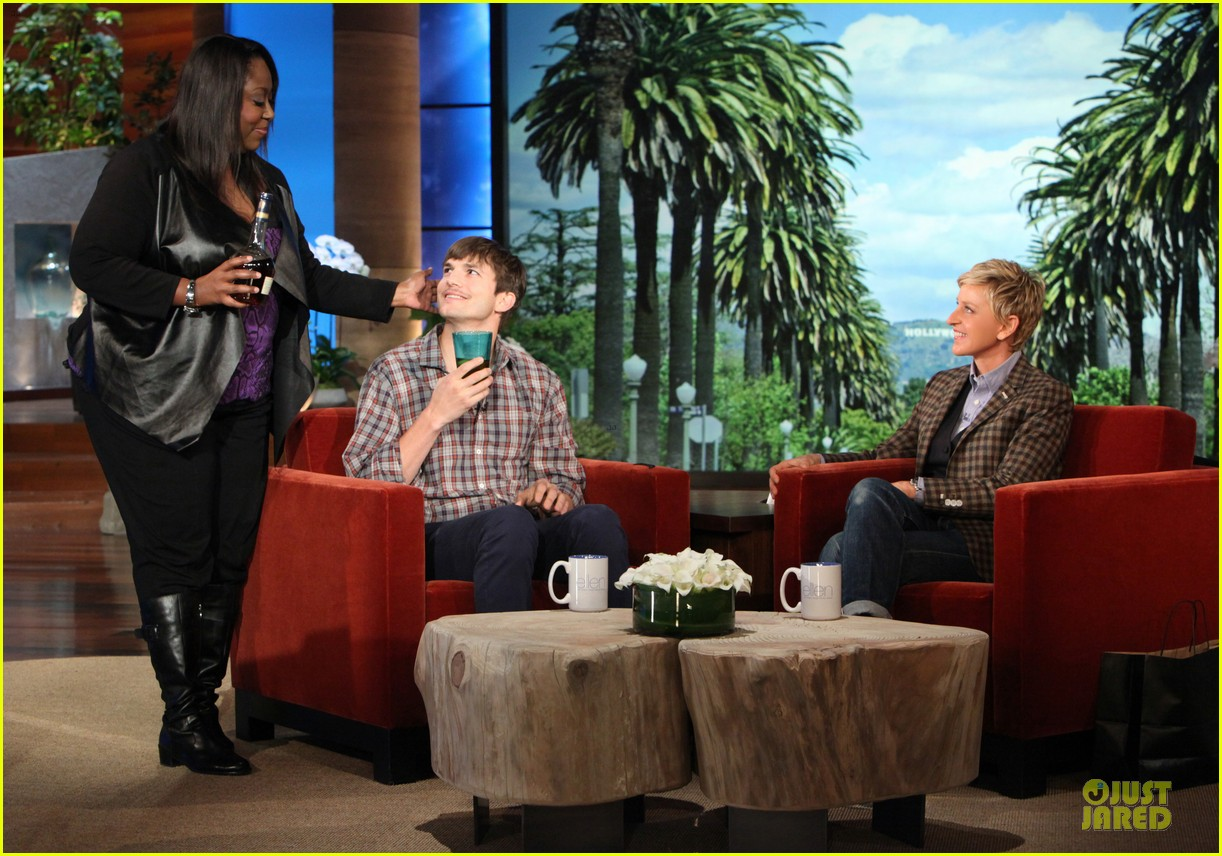 ashton kutcher sports fake movember mustache on ellen 01
