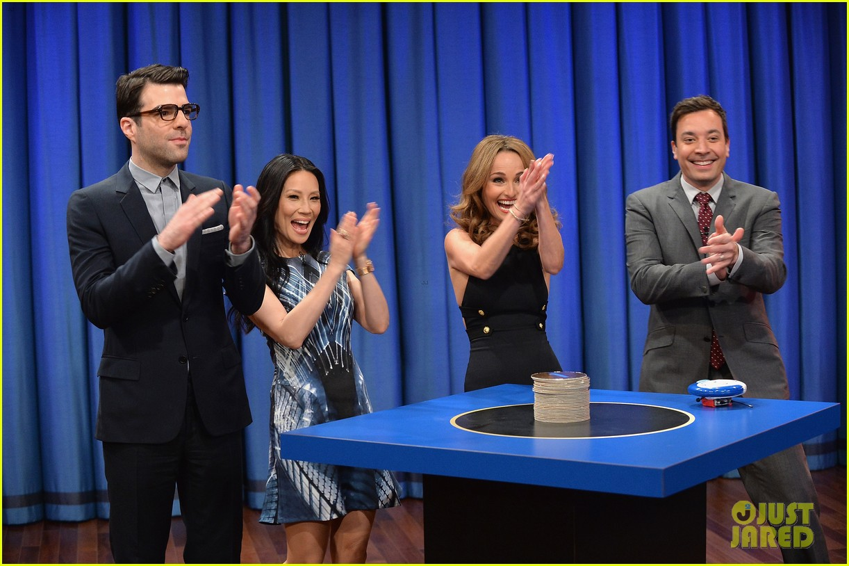 zachary quinto lucy liu play catchphrase on jimmy fallon 052986968