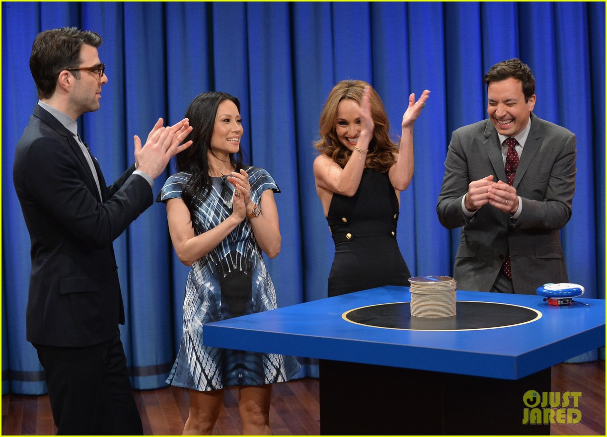 zachary quinto lucy liu play catchphrase on jimmy fallon 06