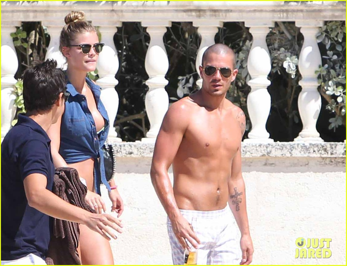 shirtless max george bikini clad nina agdal are a beach couple 023002136