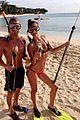 shirtless max george bikini clad nina agdal are a beach couple 01