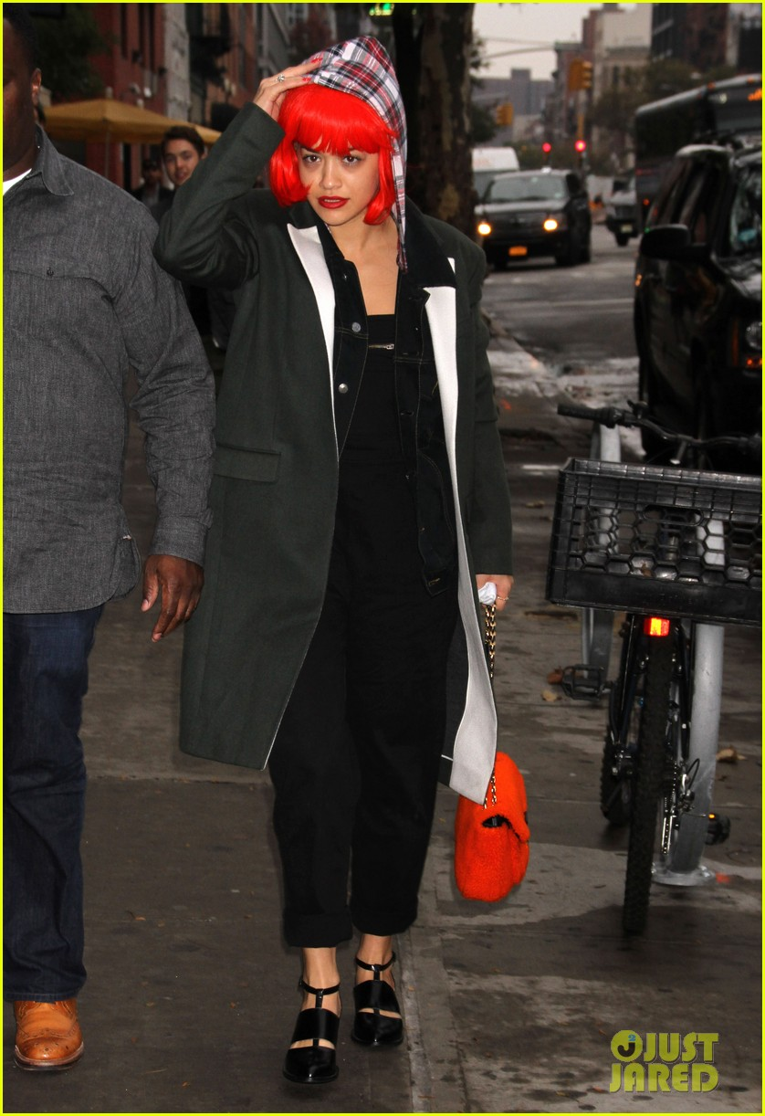 rita ora wears red wig for halloween in new york city 222983953