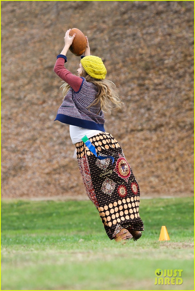 teresa palmer dives for ball during family football game 122998778
