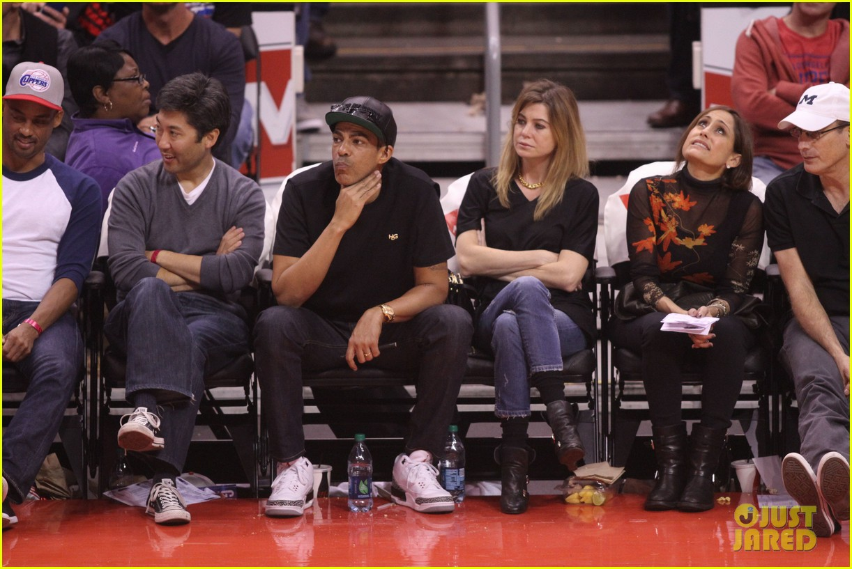 ellen pompeo cheers on the clippers with chris ivery 092995083