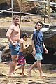simon baker shirtless beach day with the family 01