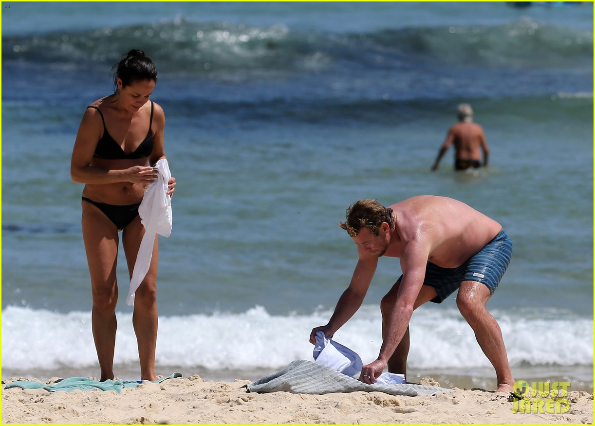 simon baker shirtless beach day with wife rebecca rigg 243013014