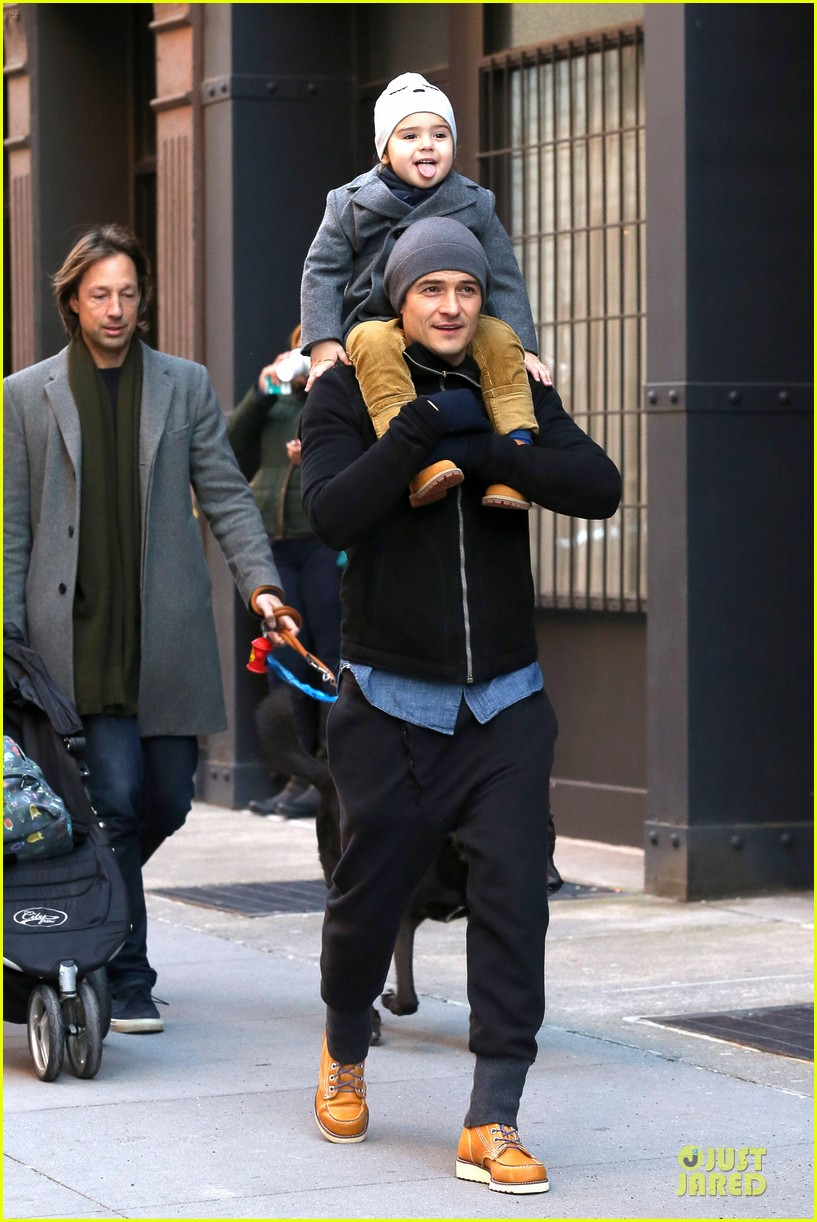 orlando bloom flynn beanie matching father son duo 01