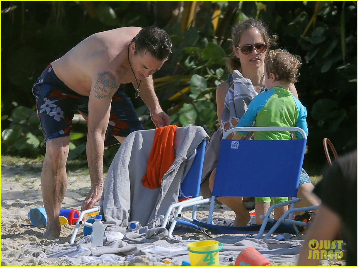 robert downey jr swims shirtless plays with exton in st barts 10