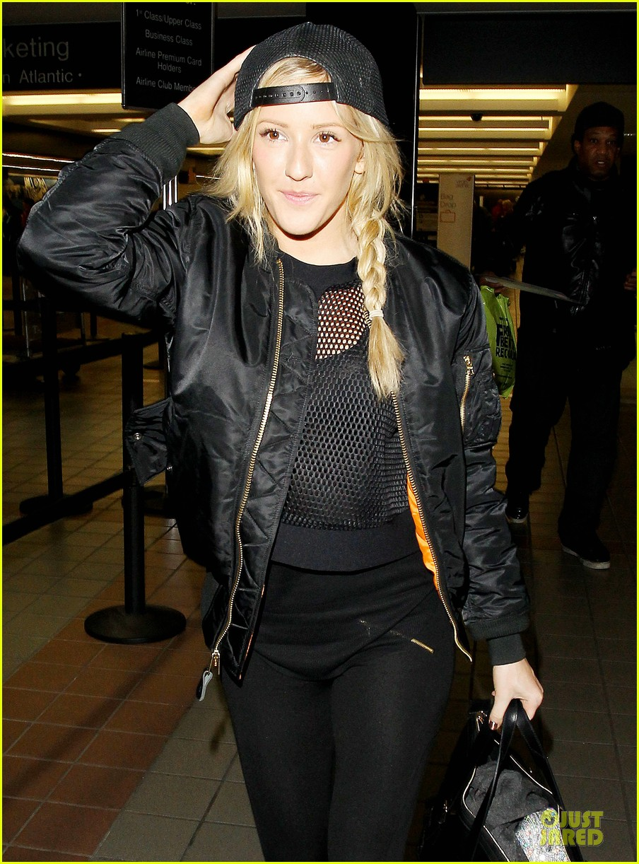 ellie goulding sports perforated top for lax departure 043002784
