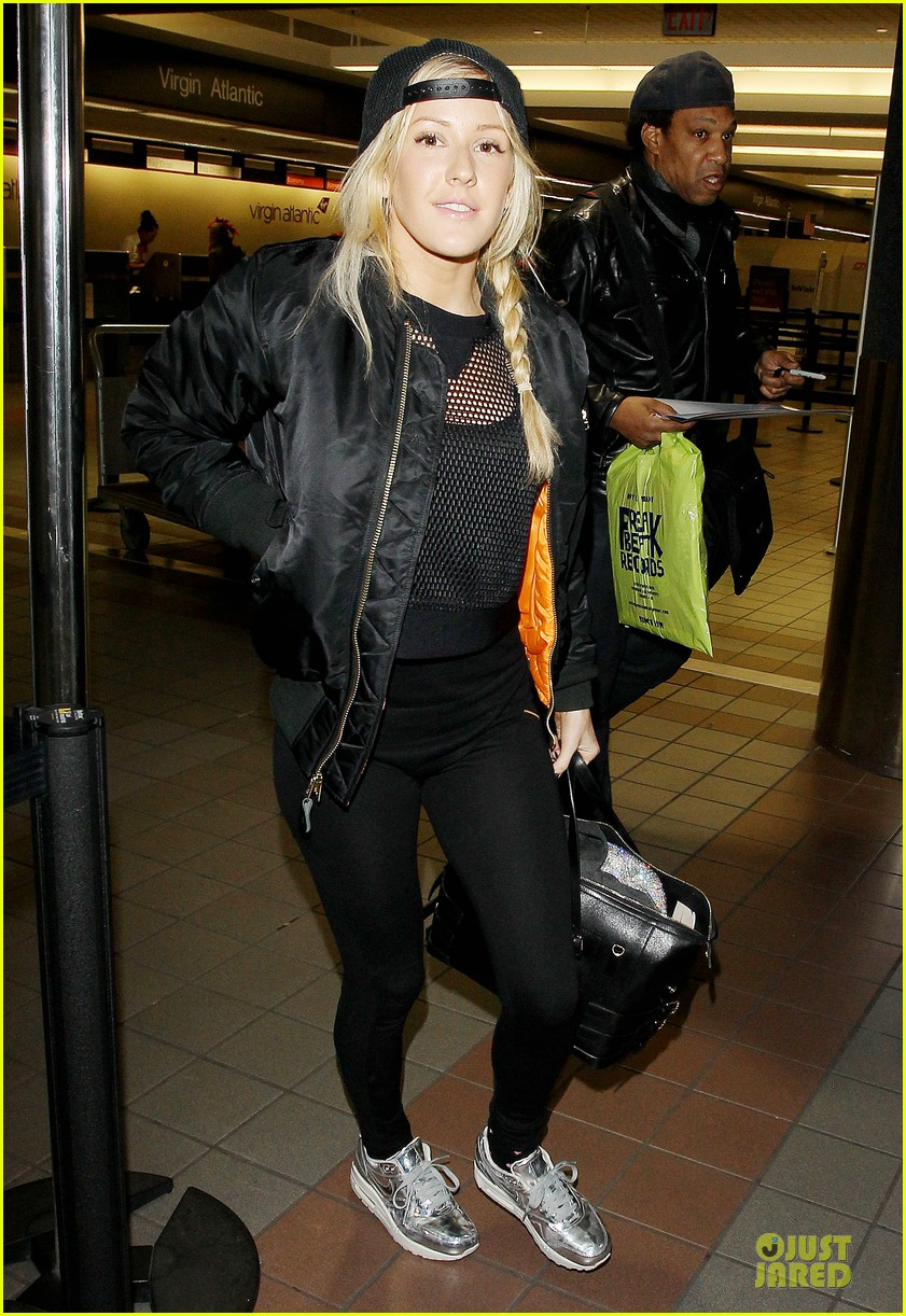 ellie goulding sports perforated top for lax departure 07