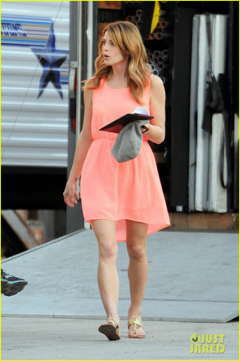 ashley green wears little pink dress for burying the ex 123005578