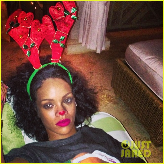 rihanna is a red nosed reindeer at her christmas eve party 04